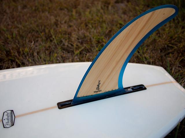 Unterseite Stand Up Paddling Board mit einer Finne