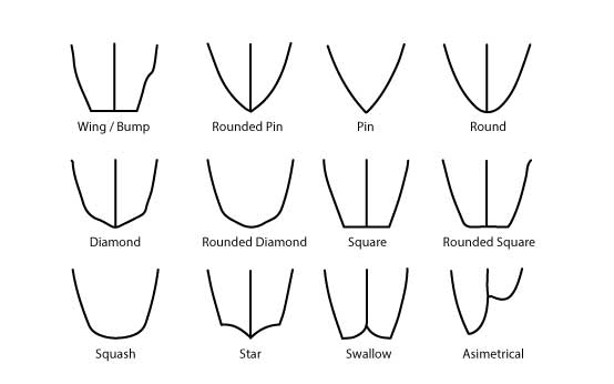 Surf Board tails shapes
